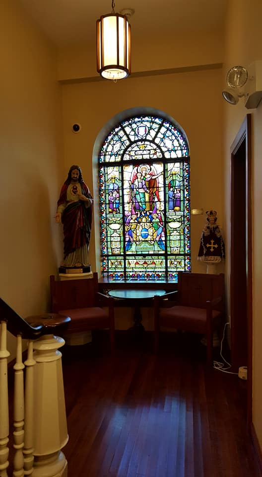"""Original Stained Glass Windows in the Leo House"""
